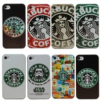 2015 New Fashion Starbucks Ooffee Protect Case Star Wars Design Phone Case Cover For Apple iphone 4 4S 4G Retail Free Shipping