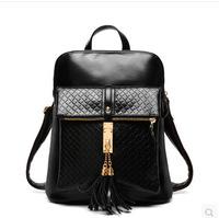 2015 Preppy Style Fringe Tassel College Backpack Women Brand Leather School Backpack Female Shoulder Bag 6038