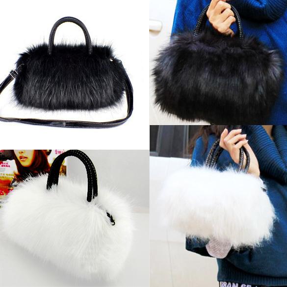 Lady Girl Pretty Cute Faux Rabbit Fur Handbag Shoulder Messenger Bag Tote free Shipping(China (Mainland))