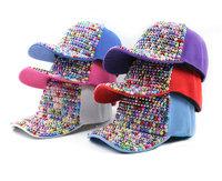 Multicolour rhinestone pearl hat female spring and summer diamond casual baseball caps outdoor sun-shading cap 6colors