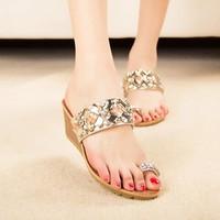 Women Sandals Bohemia Female Wedge Sandals Shoes Slope With Sweet Lady Slip Sleeve Toe Sandals