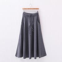 2015 New Skirts Womens Saias Femininas Cotton Elastic High Waist Casual Long Skirt  Woman Saia Women Candy Color Skirt  A1179