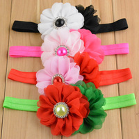 "3.5"" Double Chiffon Flower Baby Headbands with Pearl Button, Baby Accessories Hair Band For Infant Girls"