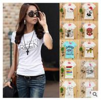 2015 New cheap tshirt good quality printed tee women short sleeve o neck casual t shirt summer T-shirt 62 modes free ship
