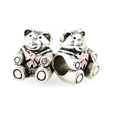 New Free Shipping 1Pc Silver Plating Bead Charm Fit pandora Bead Crystal Lovely Bear Bead Fit Bracelets & Bangles Necklace H1019