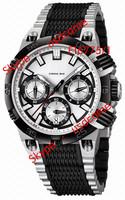 Hot sales Chrono Bike F16775/1 Tour de France Silver/Black Tone Rubber Date men's watch Original Box Free Shipping