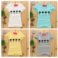 2015 newest  tshirts women short sleeve fashion t-shirt summer hat and mustache print tees cotton t shirt 5 colors free shipping