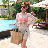 2015 Woman Sexy Lace Cotton Beach Swimwear Cover Up Camisole Bikini Pullover biquines de praia Crochet Beachwear Blusas A1184