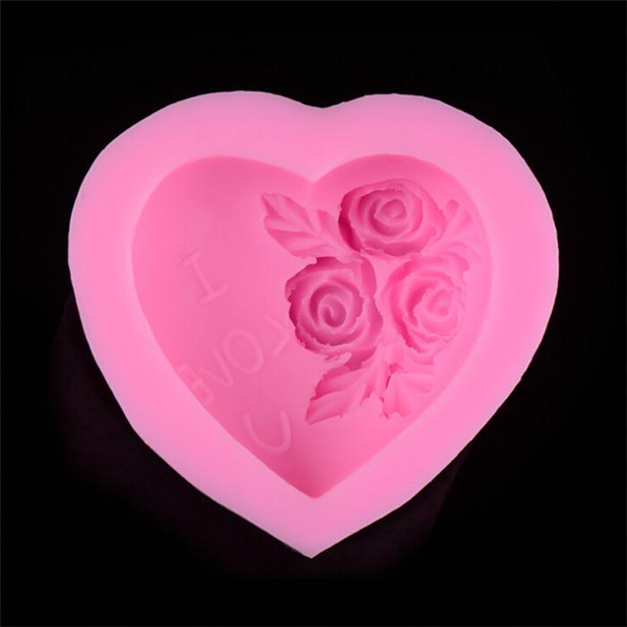 Atacado 10 pcs I Love U coração rose forma de flor bread Mold Soap Mold Sugar ofício decoração do bolo ferramentas seguro Silicone Mold DC028(China (Mainland))