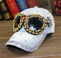 Rhinestone sunglasses cowboy hat summer diamond baseball cap sunbonnet outdoor female casual cap