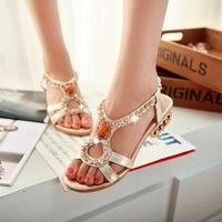 Women Genuine Leather Sandals Bohemia Shoes Open Toe With Female Sandals Sheepskin Women Shoes Flat With Low-Heeled Sandals