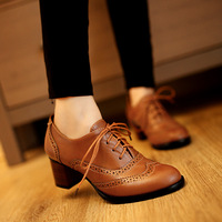 Big Size 34-43.2015 New Style Women's Fashion Classic High heel Oxford shoes High Quality Vintage Leather Thick Heel Pumps Women