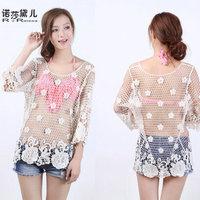 2015 Woman Sexy Lace Cotton Beach Swimwear Cover Up Camisole Bra Pullover Tank Tops Crochet Vintage Beachwear Blusas A1181