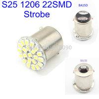 Strobe Function! 100X S25 1156 BA15S 1157 BAY15D 1206 22 SMD Flash Turn Signal Parking Lights Bulbs 12V 2 Mode 22 LED Rear Light