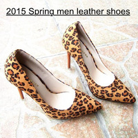 2015 New spring autumn Leopard sexy women leather pumps Flcok women 11cm high heel shoes Ladies Pointed Toe High Heels Shoes