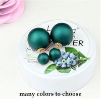 Hot Sale Valentine Day Gift For Girl's earring Luxury Simulated Double Pearl Stud Earrings for women Two Sided Wear YWPE001-1