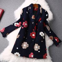 women 2015 spring autumn and winter vintage fashion elegant long women coat boddy woolen flowers wool coat overcoat outerwear
