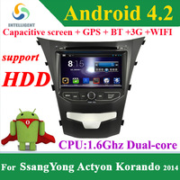 For SsangYong Actyon Korando 2014 Android 4.2 2 Din Car DVD player with Capacitive screen WIFI 3G GPS Bluetooth Car radio HDD