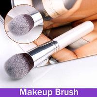 Makeup Power Kabuki Brush Tapered Head Wood White Handle Aluminum Tube Professional Multi-Function Cosmetic Tool Portable