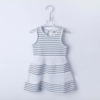 2015 Summer striped patchwork baby girls brief style sleeveless dress A1499