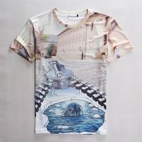 (Alice)free shipping 2015 Men/Women t shirt interesting printing small animals 3D hip hop man T- shirt size S-XL 1829