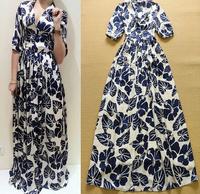 2015 Europe Runway Designer Charming Long Dress Women's Short Sleeve V-neck Floral Printed To The Floor Dress Blue  Pink