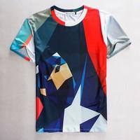 (Alice)Hot !free shipping 2015 Men/Women t shirt Geometric Contrast color printing 3D hip hop man T- shirt size S-XL 1853
