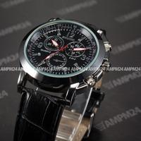 Fashion Brand New Mens Black Round Dial Leather Strap Band Relogio Masculino Male Analog Quartz Clock Men Wristwatch / PHN057