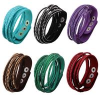 New Sparkling Crystal Multilayer Leather Wrap Bracelet Christmas Gift Charm Bracelets Vintage Jewelry For Women