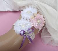 New Design Lace Trim White and Pink Color Shabby Flower Wedding Garter for Bridal Garter made of Shabby Flower Handmade