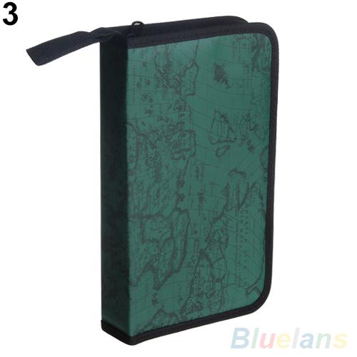 World Map Pattern CD VCD DVD 80 Discs Storage Holder Case Wallet PVC Bag Carry Organizer