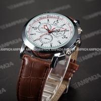 Brand New Relogio Masculino White Round Dial Brown Leather Band Male Analog Clock Quartz Dress Wrist Men Casual Watch / PHN059