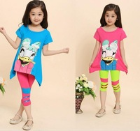 [ Humor Bear ] NEW 2015 summer  Kids Girl Clothes Set cartoon T Shirt And Color Leggings Children Clothing Sets