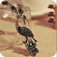 OMH wholesale 6pcs off 24% = $0.97/pcs Europe and America Vintage Exquisite Peafowl Pendant Women Chokers Necklace XL144