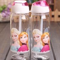 Water Bottle kids Cartoon Drinkware Straw Cups Plastic Gift