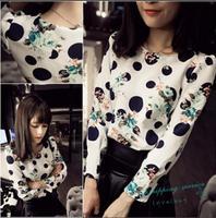 New Korean Wild Loose T-shirts Big Dots Flowers Retro Colors Prints T-shirts Long-sleeved Chiffon Shirt Women Free Shipping