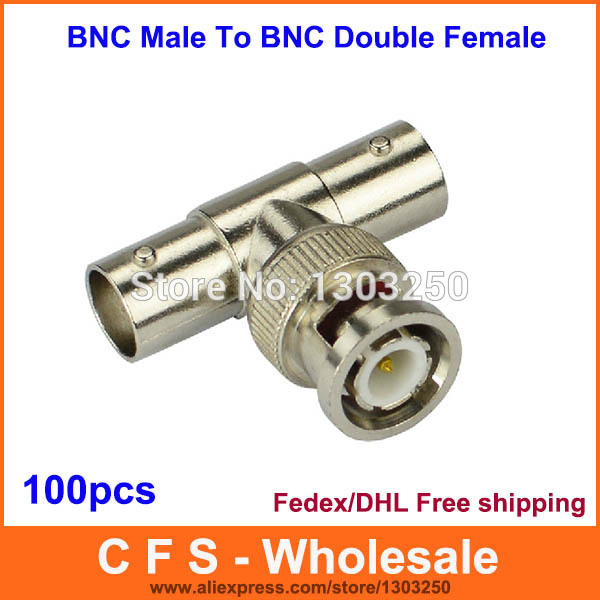 100pcs BNC Male To BNC Double Female Splitter T adapter Connector Fedex / DHL Free Shipping(China (Mainland))