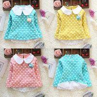 Polka Dot Baby Kid Girl Long Sleeve Lapel Lace Bow Cotton Shirt Blouse Tops