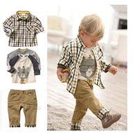 1 set Retail top quality children clothing set boy's plaid 3 pcs set overshirt+tees+pants autumn baby wear YCZ020