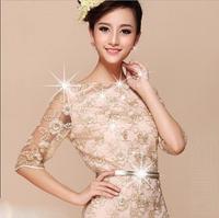 2015 new gold thread embroidery Slim round neck lace half sleeve dress S-XXL