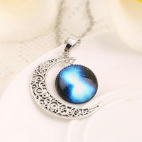 Charm Necklace Jewelry Universe Half Moon Crescent Necklace Cabochon Pendant