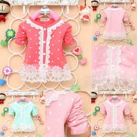 2-4Y Baby Kid Girl Polka Dots Shirt Long Sleeve Lace Pearl Cardigan Dress Coat