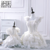 Free shipping Fashion family fashion clothes for mother and daughter winter child dress lace evening dress puff  formal