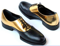 HOT!New for 2105 gold stitching handmade bold face banquet gentleman hit the color lace shoes
