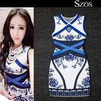 2015 summer sexy women sleeveless one piece dress brand designer dresses hollow out runway dress Blue and white porcelain