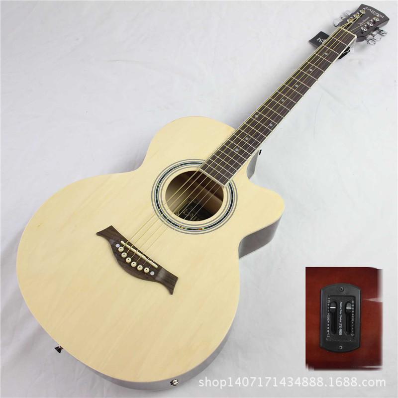 39 inch electric box guitar folk acoustic guitar basswood guitar guitar wood color factory direct(China (Mainland))