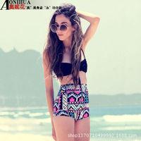 Neon Top High Waisted bikini Spandex Panties Swimsuit Side Slits Bandage Bathing Suits high waist swimwear