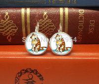 new 2015 cartoon tiger Calvin and hobbes dangle drop stud earrings 1pcs/lot handmade 12mm/0.47inch free shipping cheap price man