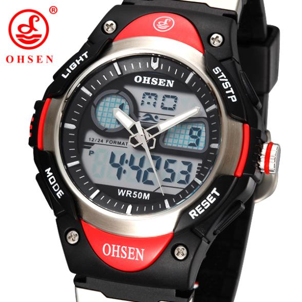 OHSEN Analog Digital LCD Dual Time Sport Watch Children Boy Waterproof Silicone Band Quartz Wristwatch Men Military Watches Gift(China (Mainland))