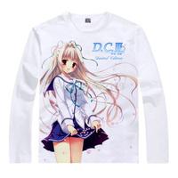 Hot Sale Da Capo III Ricca Morizono Charles Milk cotton T-shirt in White, anime Tops Casual Tees Long O-Neck Shirt